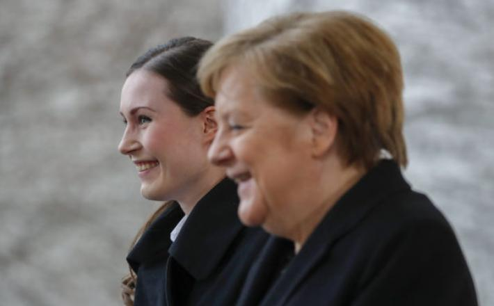 German Chancellor Angela Merkel (R) greets Finland's Pime Minister Sanna Marin prior to talks on Feb. 19, 2020 at the Chancellery in Berlin. Image: AFP/Odd Andersen via ETX Studio  Read more: https://newsinfo.inquirer.net/1402075/vote-for-women-they-may-b