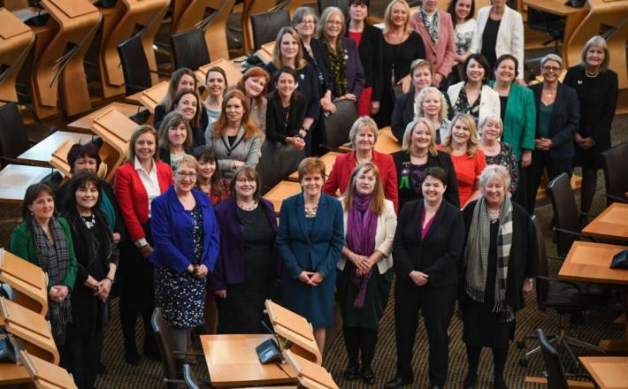 GETTY IMAGES Women MSPs marked the centenary of the Representation of the People Act 1918, which allowed women to vote for the first time.