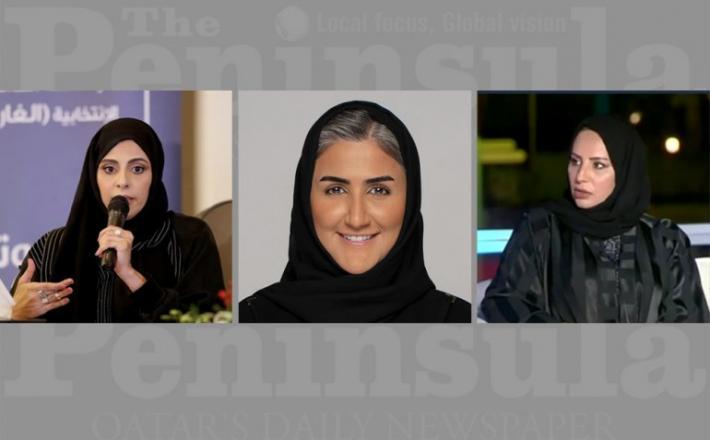 FROM LEFT: Shura Council candidates Fatma Ahmed Al Kuwari, Al Maha Jassim Al Majed, and Fatma Ghanem Muhammad Saad al Kubaisi