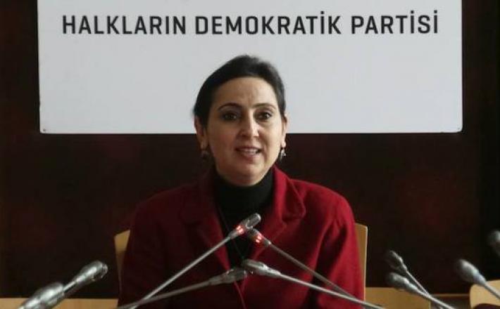 People's Democracy Party (HDP) co-chair Figen Yuksekdag speaks at a meeting on Feb. 11, 2015.  (photo by Facebook/@Figen Yüksekdağ)