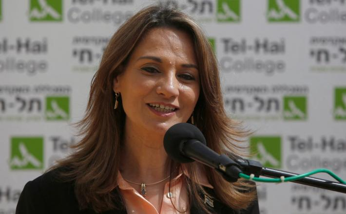 Yifat Sasha-Biton, No. 2 in Israel's New Hope party, speaks during a visit to the Academic and Technology College of Tel-Hai in northern Israel, March 9, 2021. (Jalaa Marey/AFP via Getty Images)