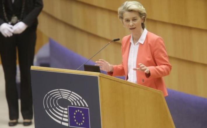 "European Commission president Ursula von der Leyen: ""I felt hurt and left alone: as a woman and as a European."" Photograph: Olivier Hoslet"