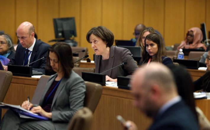 """Inez Murray, CEO, Global Banking Alliance for Women, addresses the Joint Side Event: """"Transformative financing for gender equality and women's empowerment: Expectations from the Financing for Development process."""" Photo: Ryan Brown/UN Women"""