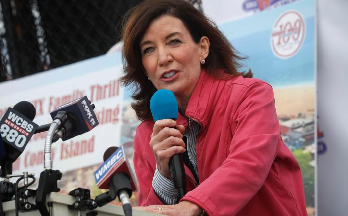 Kathy Hochul, the lieutenant governor, will succeed Andrew M. Cuomo to become the first female governor of New York.Credit...Brendan McDermid/Reuters