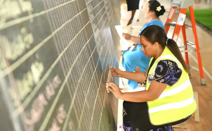 Samoa election workers tally votes. Opposition leader Fiame Naomi Mataafa could become the island's first female leader with her new party tied with the prime minister's and a lone independent holding the balance of power Handout Samoa Electoral Commissio