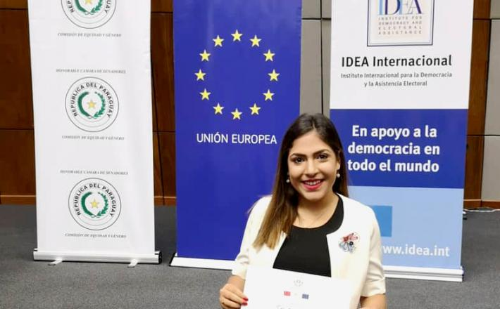 Sol Arrúa, recién graduada de la Academia de Formación Política para Mujeres Líderes.