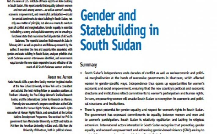 Gender and State Building in South Sudan