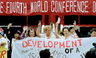 Participants at the Non-Governmental Organizations Forum meeting held in Huairou, China, as part of the United Nations Fourth World Conference on Women held in Beijing, China on 4-15 September 1995. Photo: UN Photo/Milton Grant