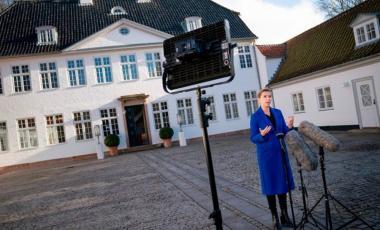 Denmark's Prime Minister Mette Frederiksen gives a statement outside the Prime Minister Residence in Kongens Lyngby, Denmark, on Nov. 2020. (LISELOTTE SABROE/RITZAU SCANPIX/AFP/GETTY IMAGES)