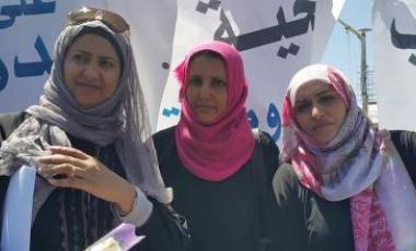 Des femmes manifestent contre les frappes de la coalition arabe à Sanaa. Photo postée sur Facebook.