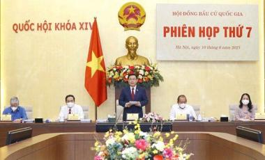 Chairman of the National Assembly Vuong Dình Hue chairing the National Election Council's seventh meetingin Hanoi on Thursday (June 10, 2021). - Vietnam News/ANN