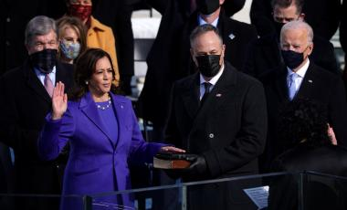 Kamala Harris is sworn in as vice president as her husband, Doug Emhoff, looks on at the U.S. Capitol on Jan. 20. Alex Wong / Getty Images