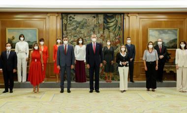 New members of government are sworn in on Monday at a ceremony attended by Spanish Prime Minister Pedro Sánchez (3rd l) and King Felipe VI (c).BALLESTEROS / EFE