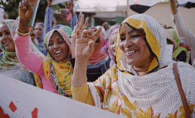 المرأة السودانية كانت صاحبة دور رائد في الثورة  GETTY IMAGES
