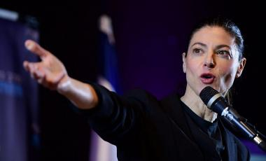 Labor party leader Merav Michaeli at the party's conference ahead of the Israeli elections in Hod Hasharon, March 14, 2021. (Tomer Neuberg/Flash90)