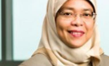 Photo: aware.org.sg; Halima Yacob, the first woman Speaker of Singapore Parliament