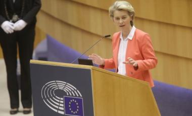 """European Commission president Ursula von der Leyen: """"I felt hurt and left alone: as a woman and as a European."""" Photograph: Olivier Hoslet"""