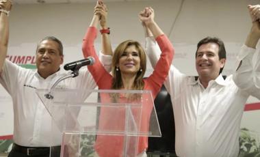 Claudia Pavlovich celebrates her victory as governor of Sonora, Mexico, in 2015. (Agencia el Universal/AP)