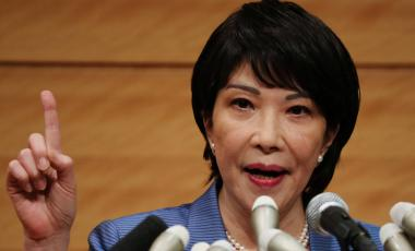 Lawmaker Sanae Takaichi speaks at a news conference to announce her running in the ruling Liberal Democratic Party leadership race to succeed outgoing Prime Minister Yoshihide Suga in Tokyo on Sept. 8. | REUTERS