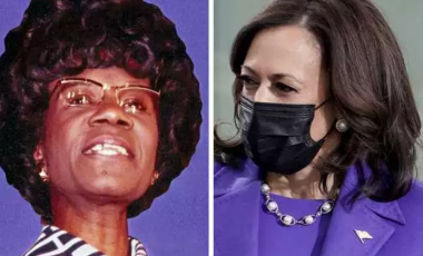 Left: Representative Shirley Chisholm announces her candidacy for the Democratic presidential nomination. Right: Vice President Kamala Harris wears purple during hte 59th Presidential Inauguration. AP Photo; Greg Nash - Pool/Getty Images