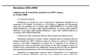 La résolution 1820 du Conseil de sécurité des Nations Unies