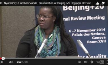 Ms. Nyaradzayi Gumbonzvanda, presentation at Beijing+20 Regional Review Meeting