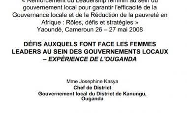Défis auxquels font face les femmes leaders au sein des gouvernements locaux – expérience de l'ouganda