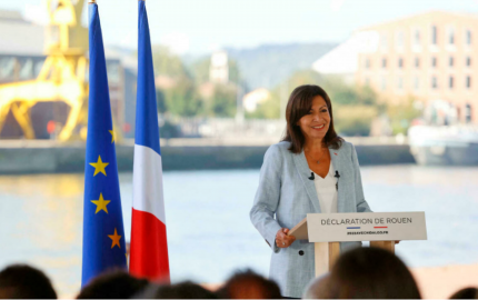 La maire socialiste de Paris, Anne Hidalgo, lors de l'annonce de sa candidature à Rouen, le 12 septembre 2021. © Thomas Samson, AFP