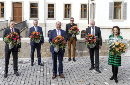 It's not unusual: The newly elected all-male Aargau government in October 2020, with its chancellor, Vincenza Trivigno