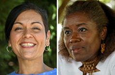 Hala S. Ayala, left, is the Democratic pick for Virginia lieutenant governor and Winsome E. Sears is the Republican nominee. (Jahi Chikwendiu/The Washington Post)