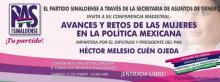 """Conferencia magistral """"avances y retos de las mujeres en la política mexicana"""""""