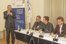 Yves Leterme, Secretary-General of International IDEA, speaks during the seminar.